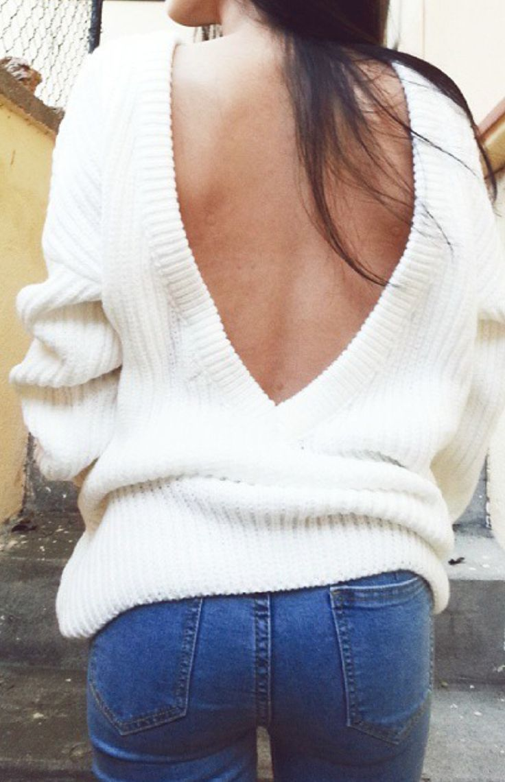 f5de4601f3 White Plain Off Shoulder Backless Long Sleeve Loose-fitting Sexy Fashion  Acrylic Sweater