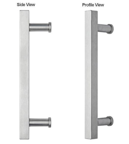 23 Inch Stainless Steel Modern Square Door Handle, Omnia 8190/400 ...