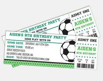 Soccer Birthday Party Invitation Ticket Printable by SqweezDesign