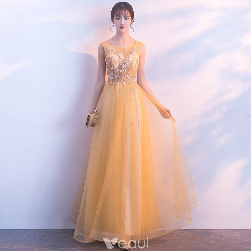 Elegant Gold Evening Dresses