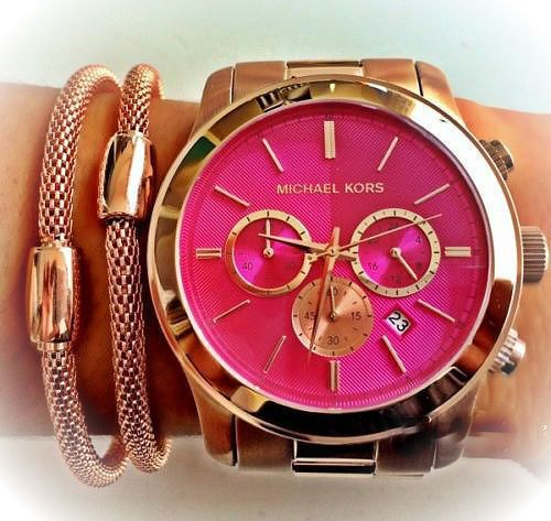 MICHAEL KORS LADIES OVER SIZED PINK 45MM ROSE GOLD BRACELET CHRONO WATCH MK5931 in Wristwatches | eBay