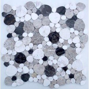 Carrelage pierre mosa que galets plats luna noir pour la for Carrelage galet plat
