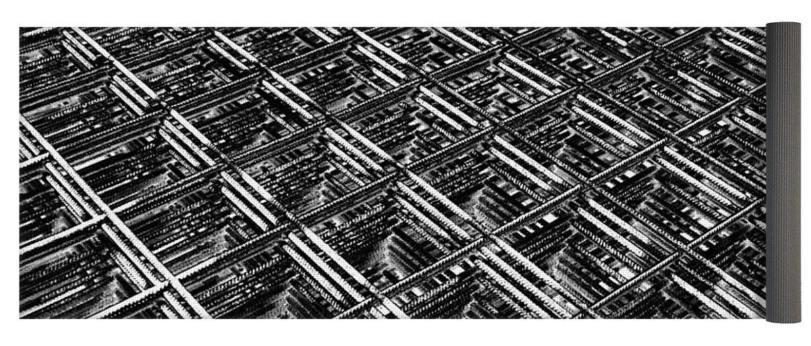Black And White Yoga Mat Featuring The Photograph Rebar On Rebar Industrial Abstract By Karen Stahlros Yoga Y With Images Cool Yoga Poses Colorful Yoga Mats Yoga Funny
