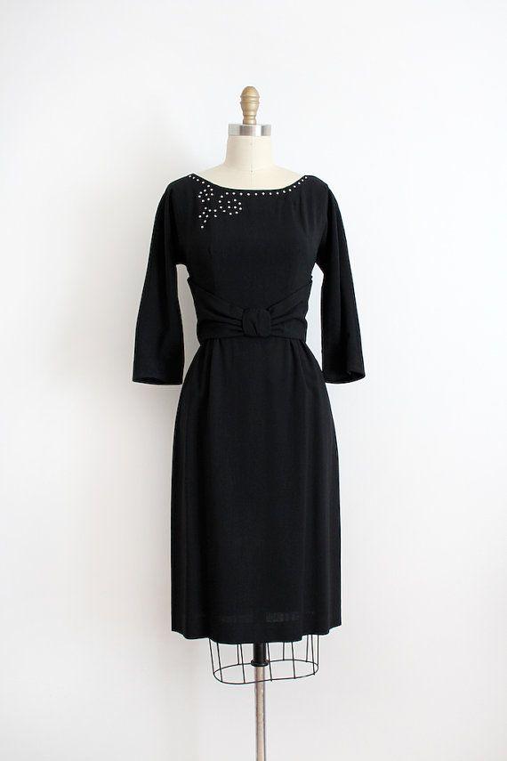 Vintage 1950s Cocktail Dress 50s Little Black Dress With