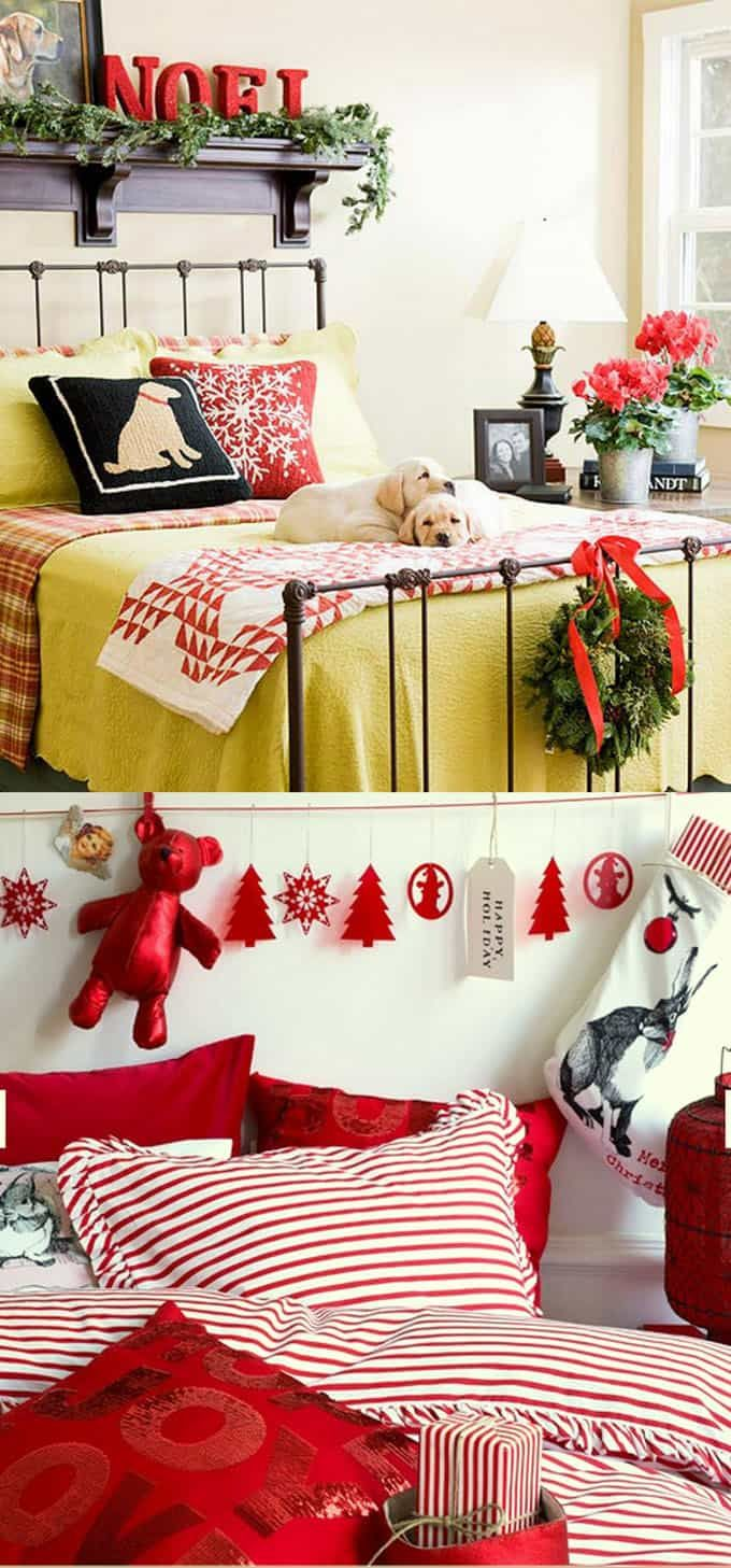 Christmas bedroom 100 Best Christmas decorating ideas