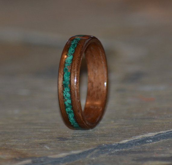 Custom Wood Ring Wood Anniversary Gift MnMWoodworks Rosewood Bentwood Ring with Malachite and Pearl Stone Inlay Pearl Wooden Ring
