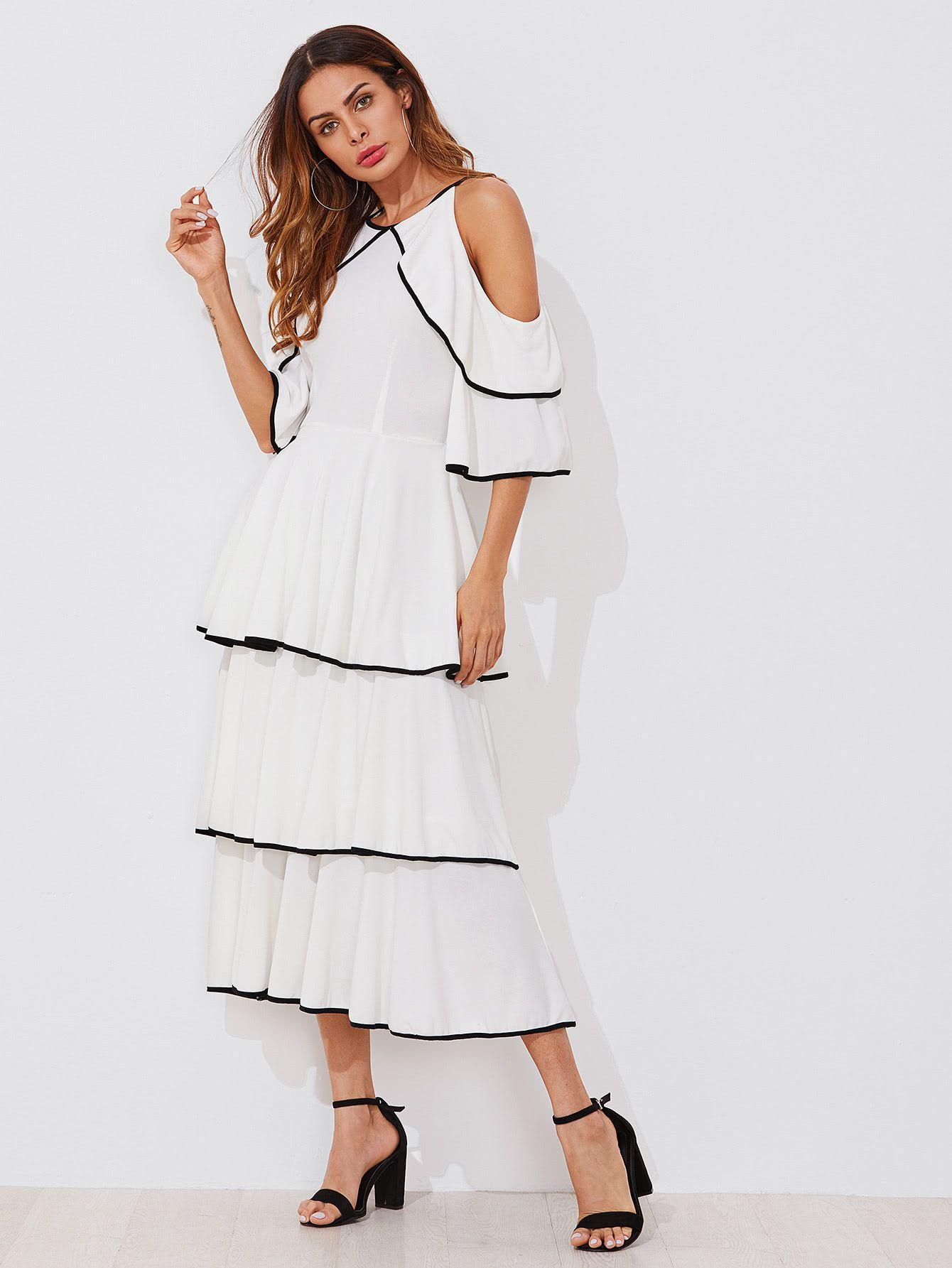 Contrast Binding Open Shoulder Tiered Flounce Dress Shein Sheinside Flounced Dress Tiered Ruffle Dress Little White Dresses [ 1785 x 1340 Pixel ]