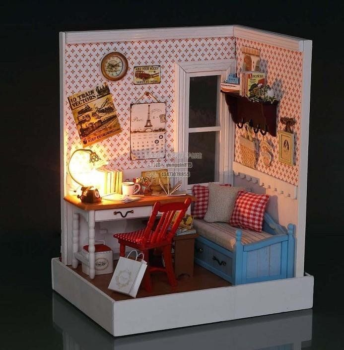 Diy Miniature Doll House Flat Packed Cardboard Kit Mini: Dollhouse Miniature Kit W/ Light Cover Lucky Town Warm