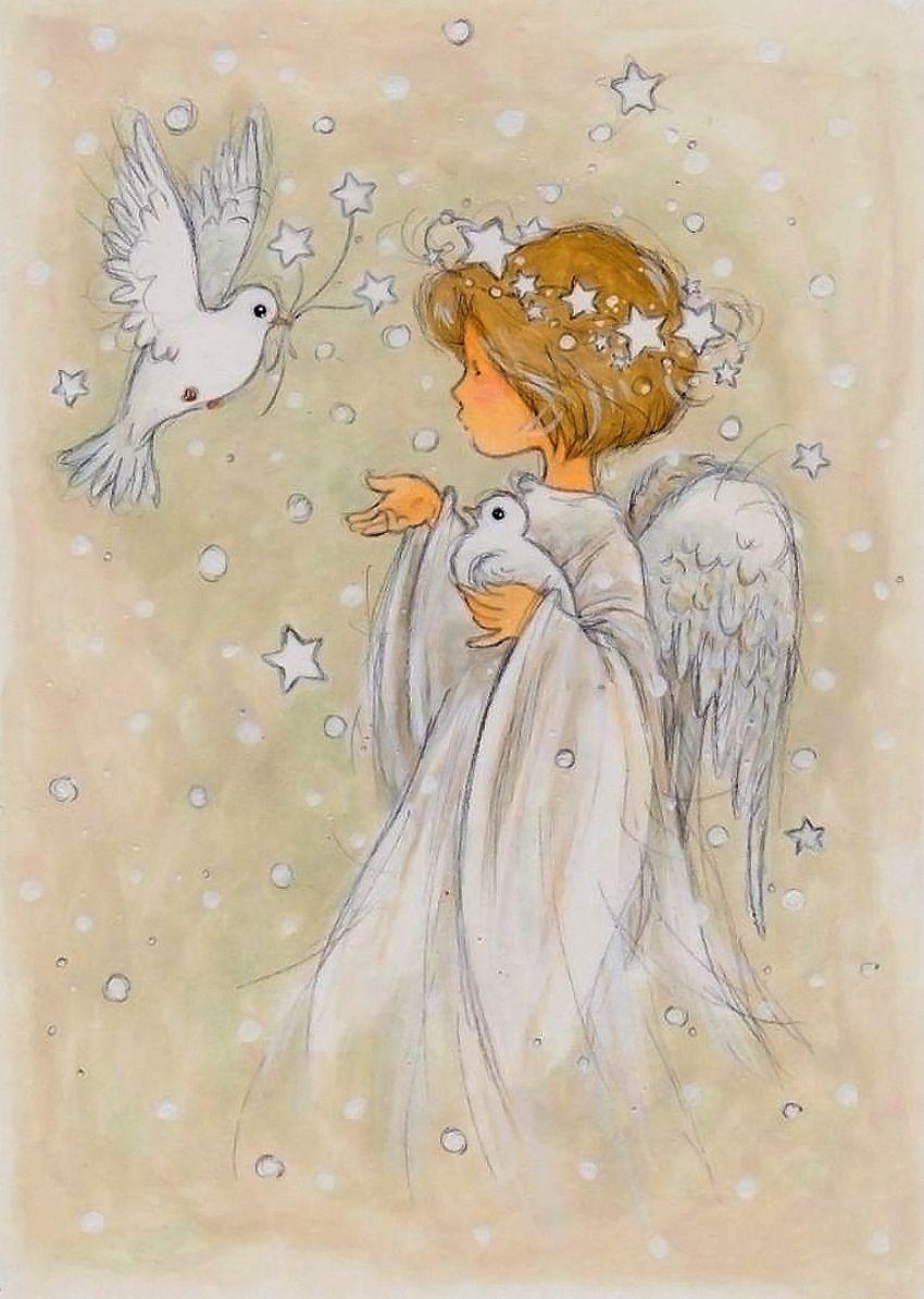 Девушек, маленький ангел на открытках