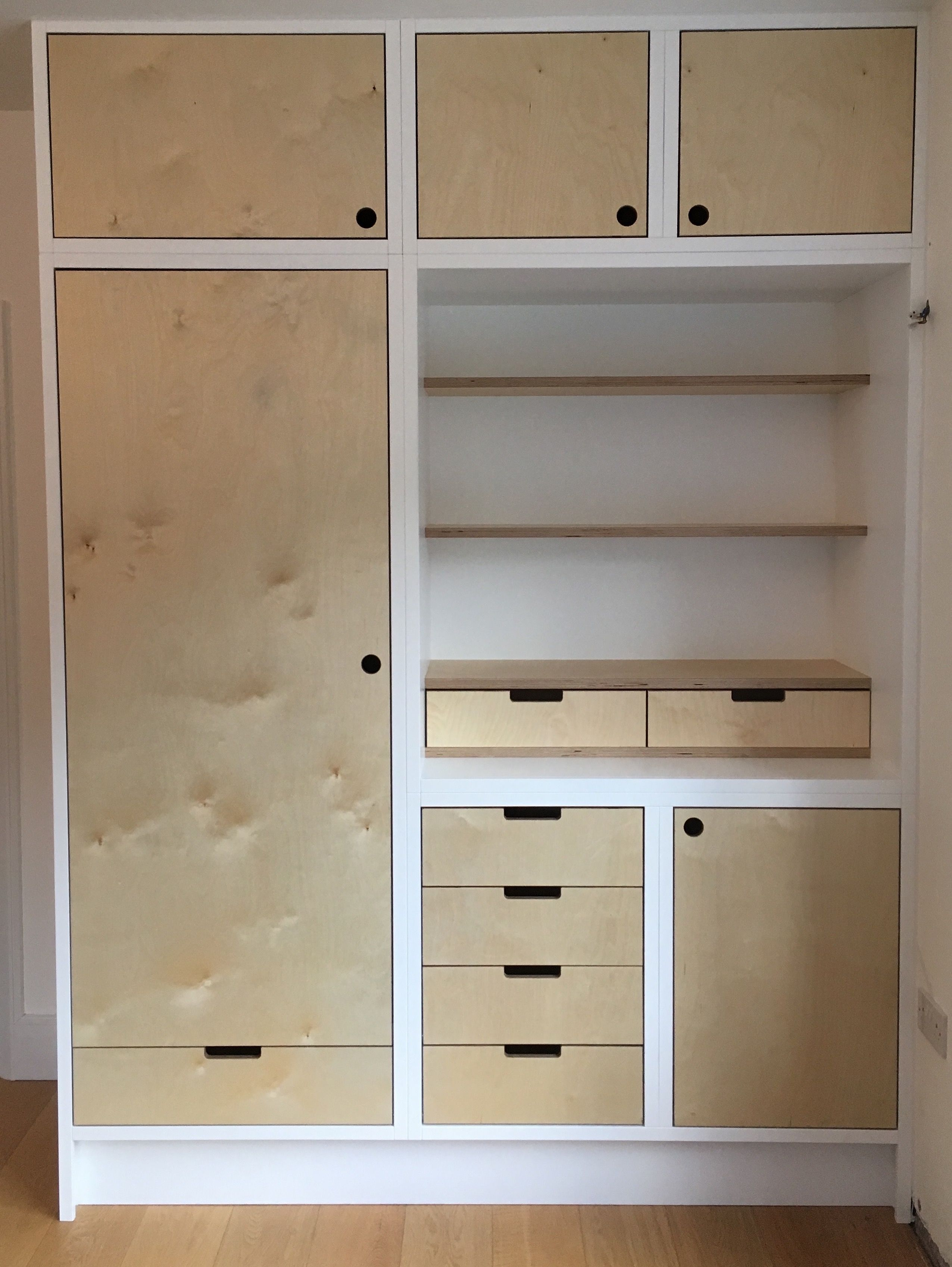 Mixed Storage Cabinet Birch Ply And Spray Finish Painted Bedroom Closet Design Built In Wardrobe Plywood Design