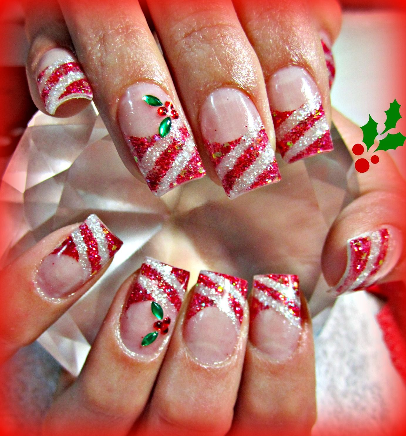 Candy Cane And Holly Acrylic Nails Xmas Nails Christmas Nail Designs Christmas Nail Art Designs