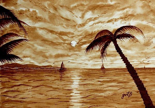 Hawaii Sunset - original coffee painting by Georgeta Blanaru ...