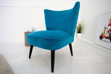 Stylischer Sessel Samtstoff hellblau
