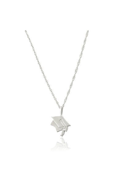 """Today is the day. You're off to great places. You're off and away.""The graduation necklace has a sterling silver graduation cap pendant on a sterling silver ad"
