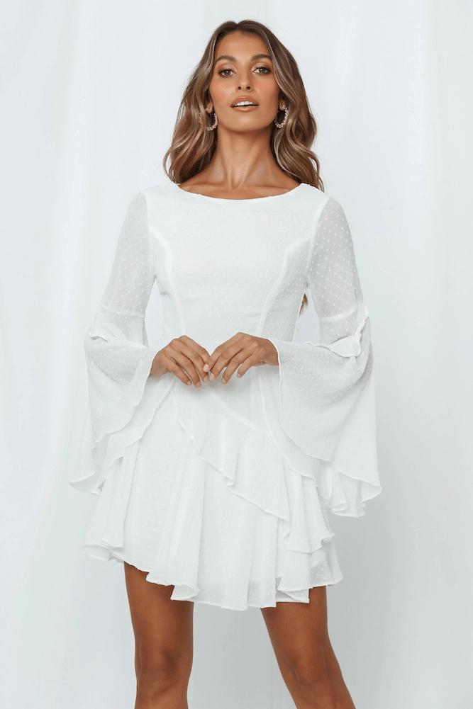 White Long Sleeve Mini Dresses Fabulous Looks That Inspire In 2020 Mini Dress With Sleeves White Long Sleeve Mini Dress Mini Dress