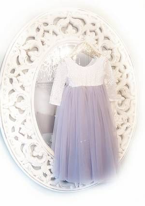 Sarah Lee 2 Pc Lace Top and Blush Tulle Skirt Flower Girl Set 2