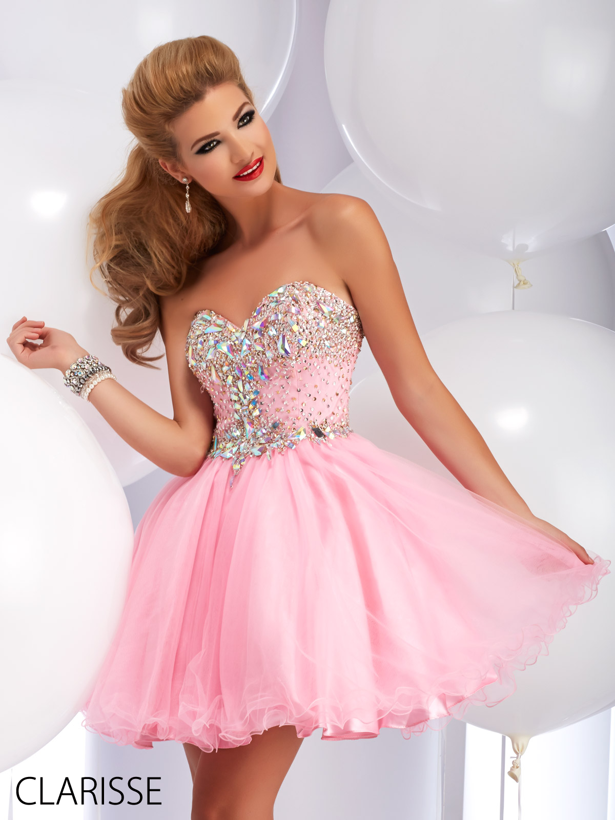 Bright Baby Pink Fun and Flirty Short 2016 Clarisse Prom Dress