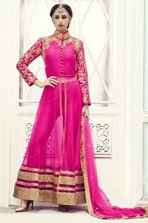 pink and gold front slit kurti