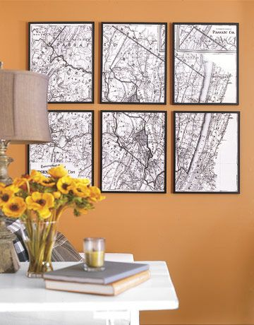 The budget makeover pinterest map frame vintage maps and walls six vintage maps framed create instant wall art solutioingenieria Gallery