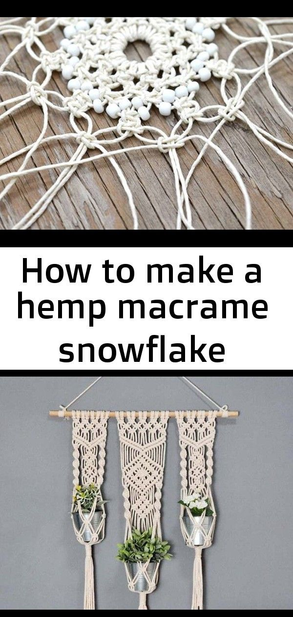 How to make a hemp macrame snowflake #hangersnowflake