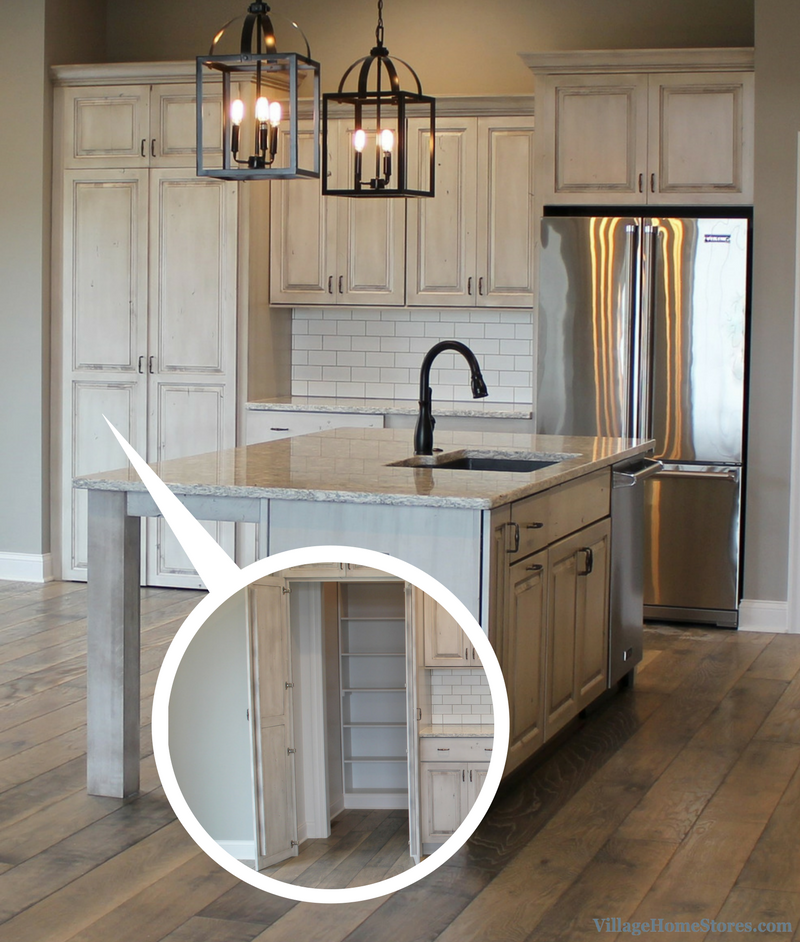 Kitchen Design Stores Lowes Light Fixtures White Drift Painted With Hidden Pantry Front By Village Home Villagehomestores Com