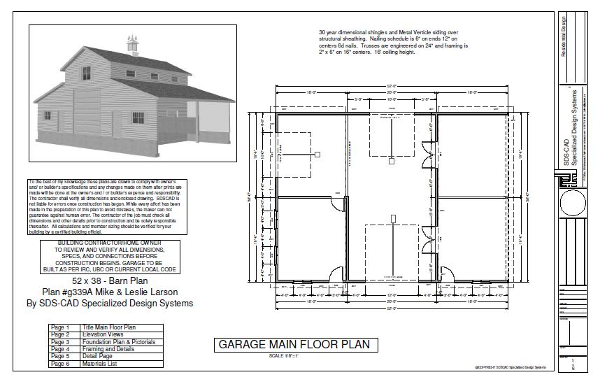 Plan G339a 52 X 38 Horse Barn In 2020 Shed House Plans Pole Barn Plans Pole Barn House Plans