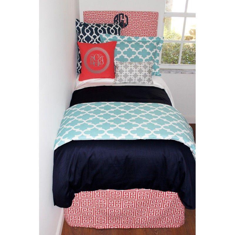 Navy, Coral, Aqua U0026 Grey Designer Bed In A Bag Set Decor Door Website.