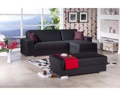Convertible Sectionals: Kobe Black Convertible Sectional Sofa Bed    NewLotsFurniture