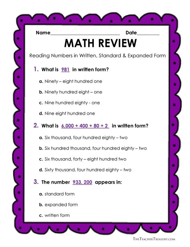 Free Reading And Writing Numbers In Expanded Form Standard Form