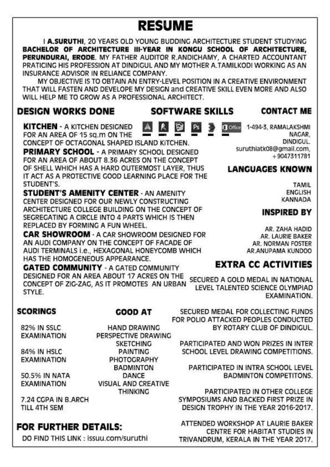 Suruthi's resume Resume, School architecture