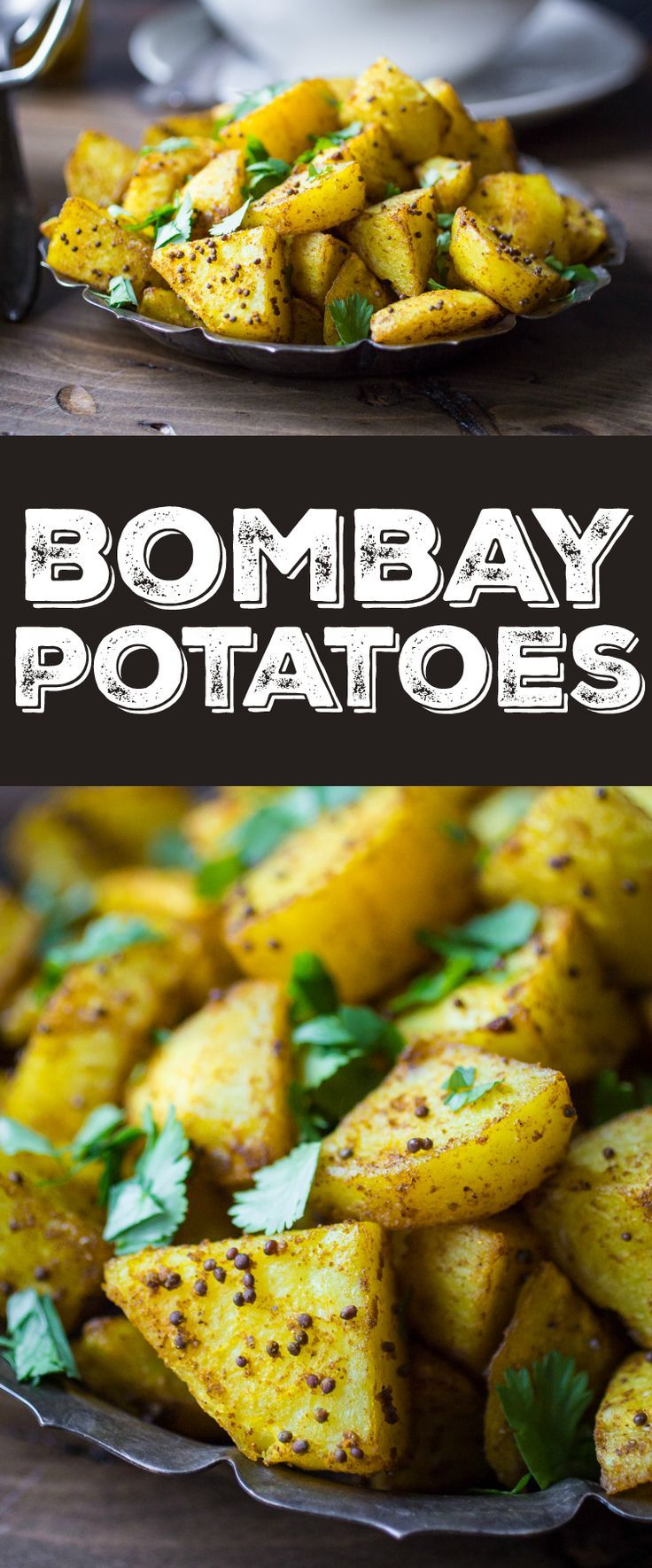 Crispy on the outside, fluffy on the inside, and richly spiced with Indian flavors -- Bombay Potatoes are the perfect side dish for any Indian meal!