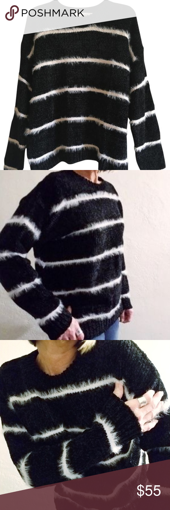 Workshop Republic XL Chunky Chenille Sweater Black Workshop Republic Chunky Chenille Stripe Knit Sweater - pull over, drop shoulder, chenille with fuzzy eyelash stripe, plush, soft and cozy Size: XL Color: Black with white stripe Content: 77 polyester 17 nylon 11 acrylic   Measurements Approx: 19.25 pit to pit x 32.5 length Condition: EUC no stains or flaws  All Offers and Bundling Welcome Tags: black Boho Fall Winter Autumn  work casual Friday warm cozy soft city outfits fuzzy trendy fashiona #winteroutfitsforwork