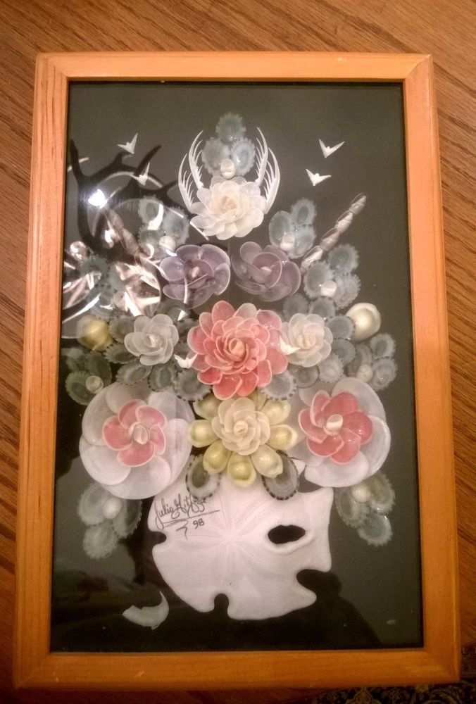JULIO MEZA SIGNED SEASHELL Shell FRAMED ART 12\
