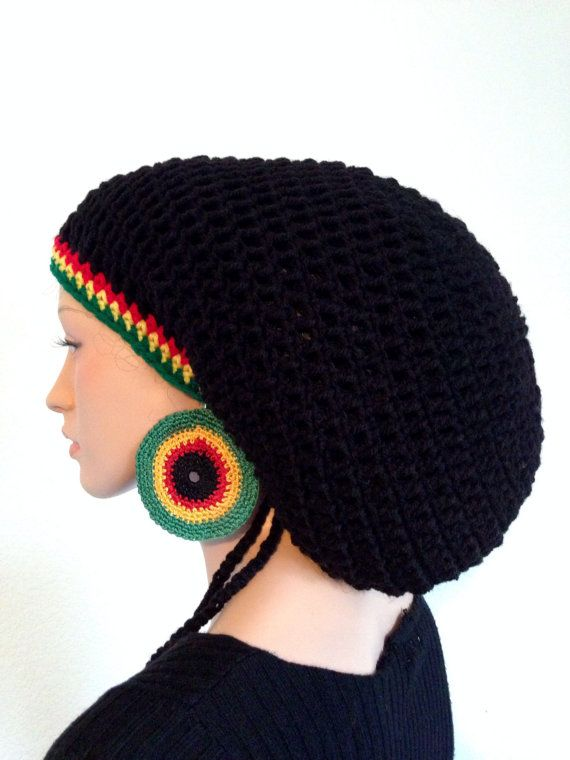 Crochet Rasta Tam with matching Earrings. Unisex Dreadlocks Tam ...