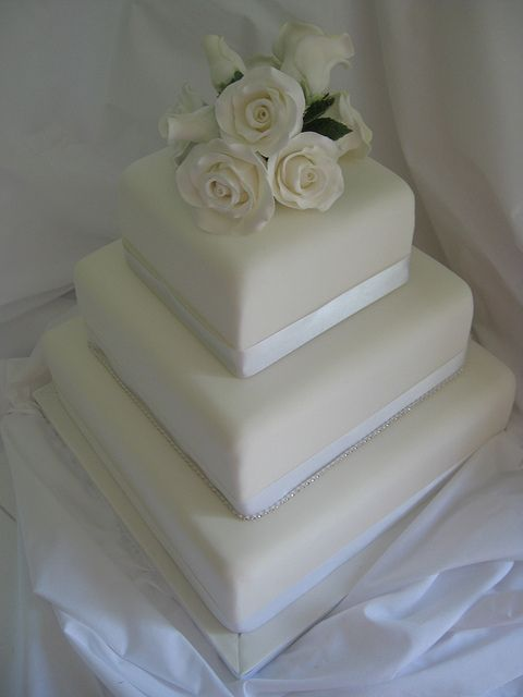square wedding cake with sugar flower | Flickr - Photo Sharing!
