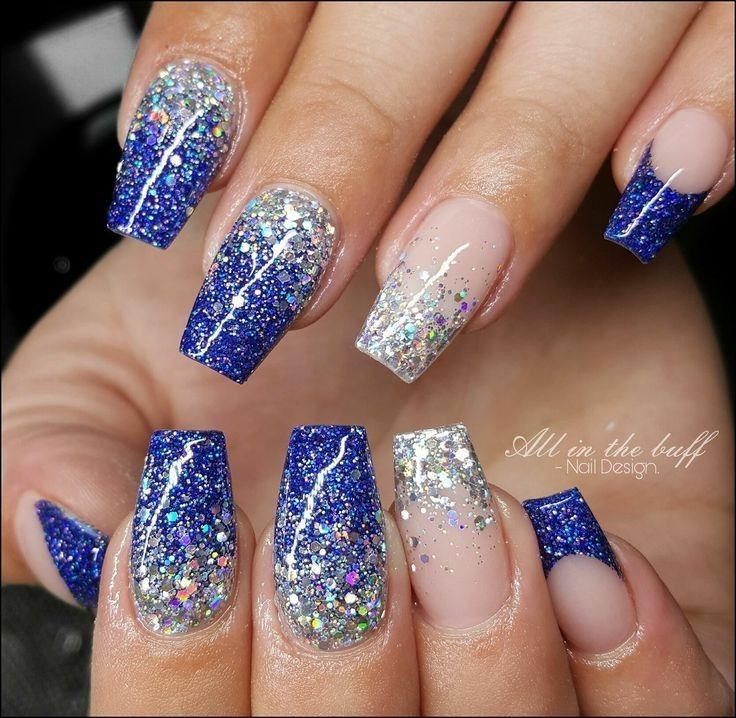 Blue And Silver Glitter Ombre Nail Art Fall Winter Polish Trends In 2020 Cowboy Nails Blue Glitter Nails Winter Nails Acrylic