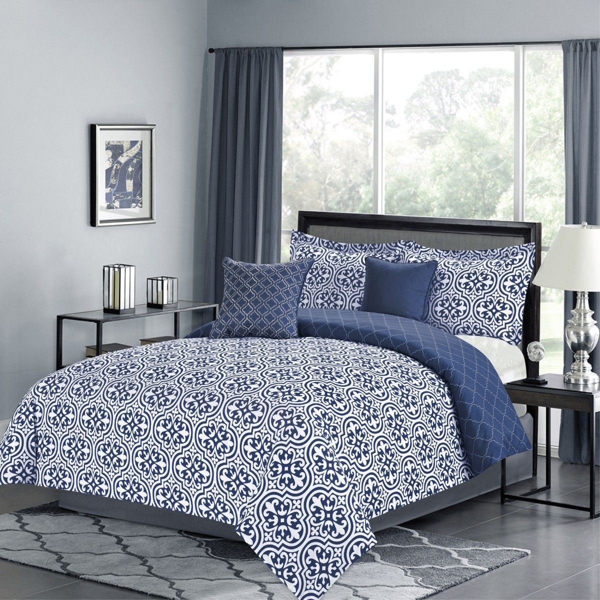 crest home kendrick queen comforter  pc bedding set dark blue  - crest home kendrick queen comforter  pc bedding set dark blue quatrefoilmedallion