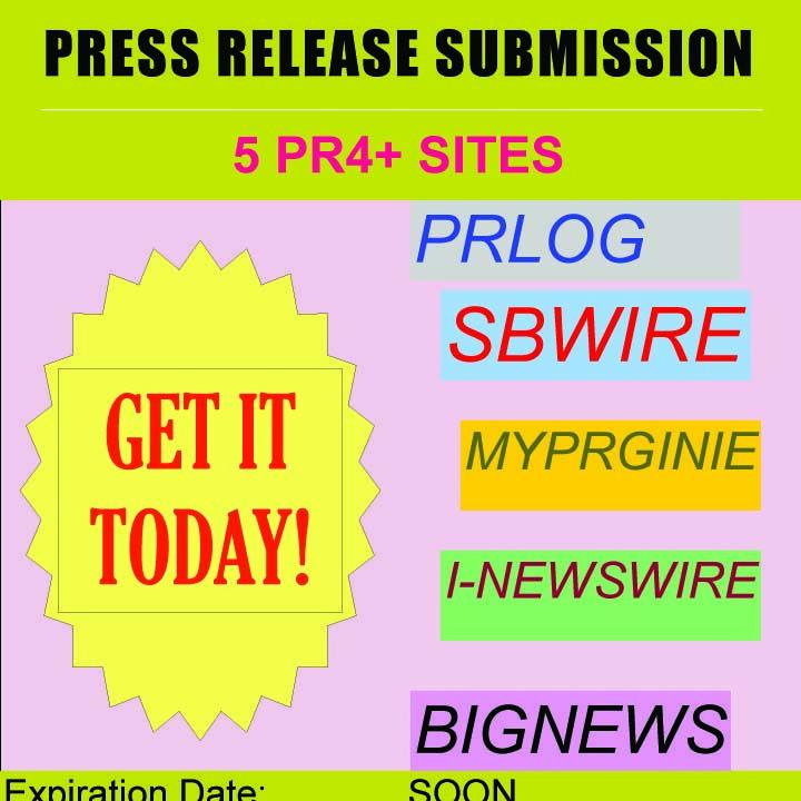 submit Press Release to 5 Sites PRlog Bignews MyPRGinie SBWire for $5, on fiverr.com