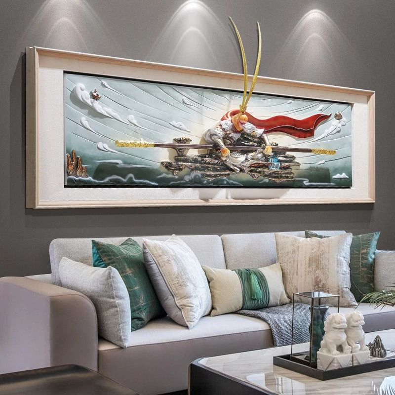 Living Room Decoration Painting Fight Against Buddha Relief Painting Sun Wukong Mural Sofa Backgroun In 2021 Bedroom Paint Living Room Decor Bedroom Wall Painting for living room ideas