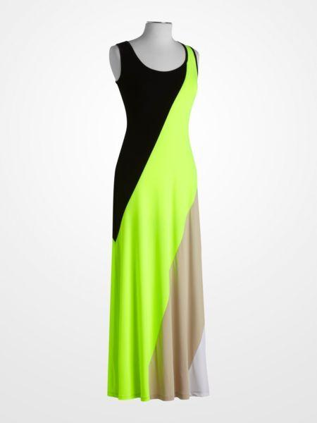 a31a811d8d92 Calvin Klein Black and Yellow Colorblock Maxi Dress #neon #stripe ...