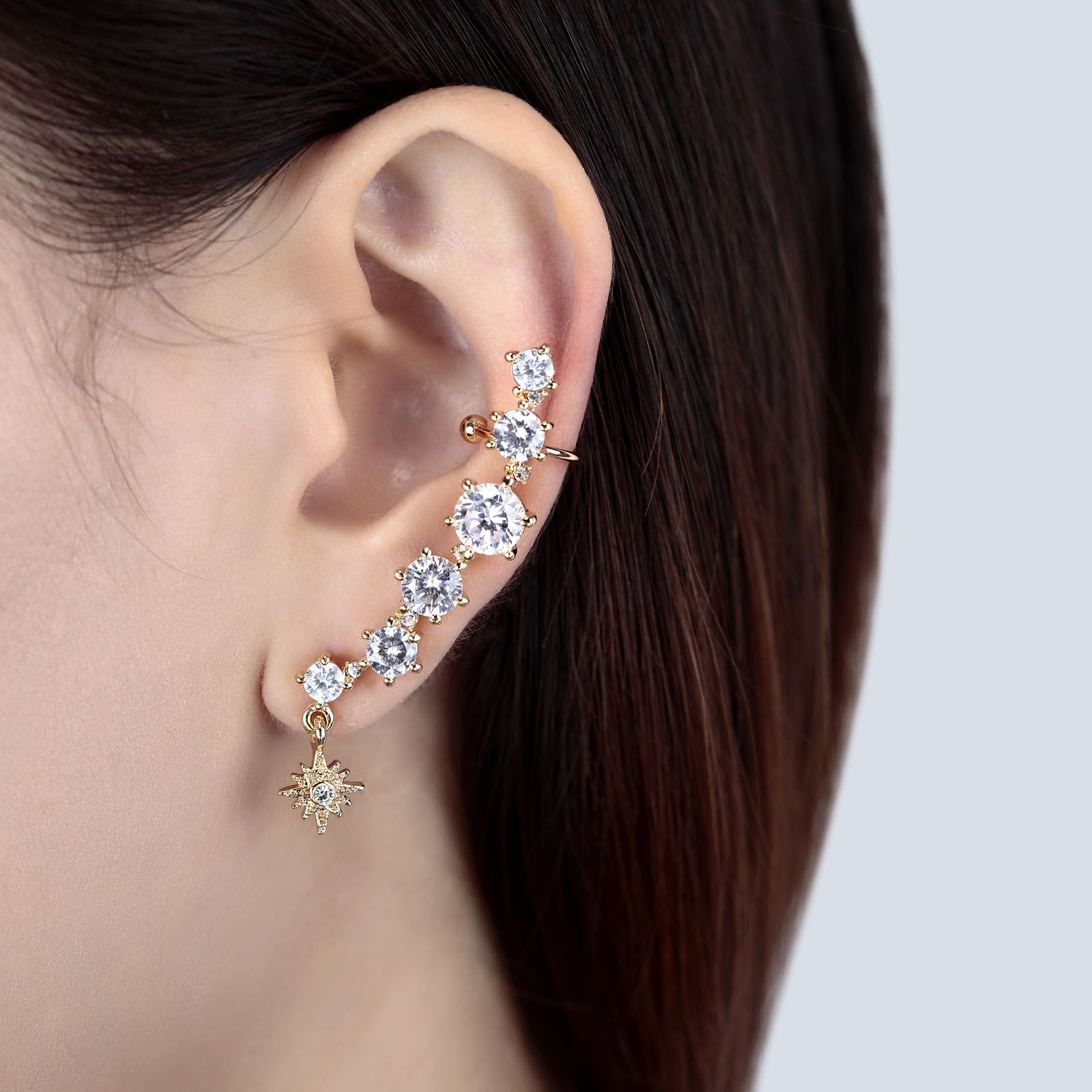 Cubic Zirconia Non Pierced Ear Cuff Earring