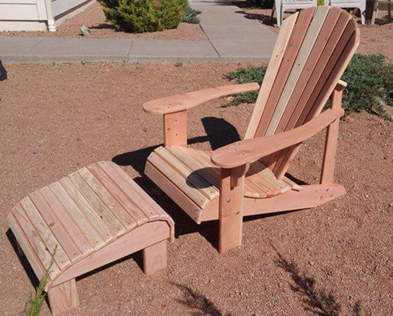 Charmant Quaint Redwood Adirondack Chair W/Footstool By AZCovenantCreations
