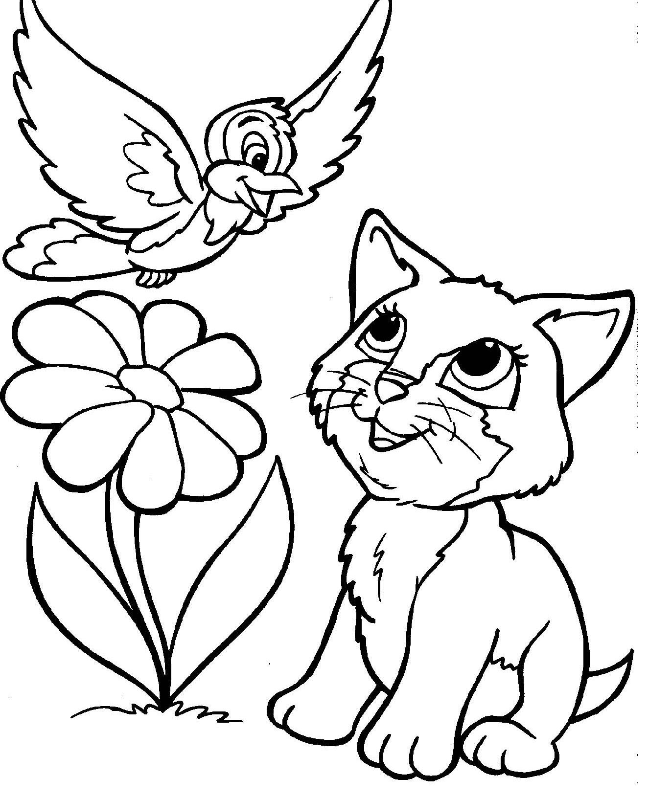 Cute Cats And Bird Coloring Pages For Kids Printable