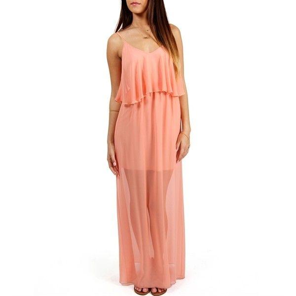 Peach Chiffon Maxi Dress ($40) ❤ liked on Polyvore