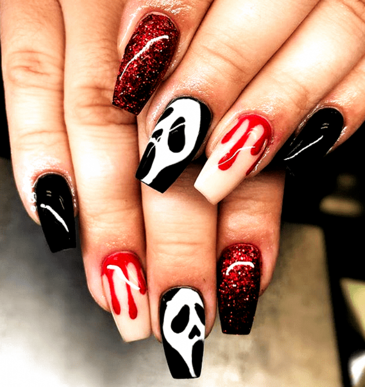 Scream Halloween Nail Art Spooky Halloween Nail Designs For Creepy Fingers Halloween Nails In 2020 Halloween Nails Halloween Acrylic Nails Halloween Nail Designs