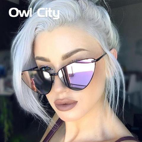 1417e5d1ea6b Owl City 2018 Fashion Cat Eye Sunglasses Women Ladies Black Metal Sun  Glasses Female Sunglass mirror designer
