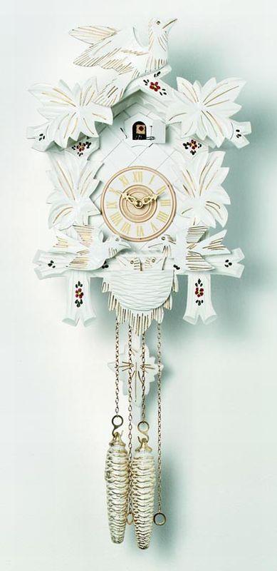 River City Cuckoo Clocks White Moving Birds Feed Nest White Finish