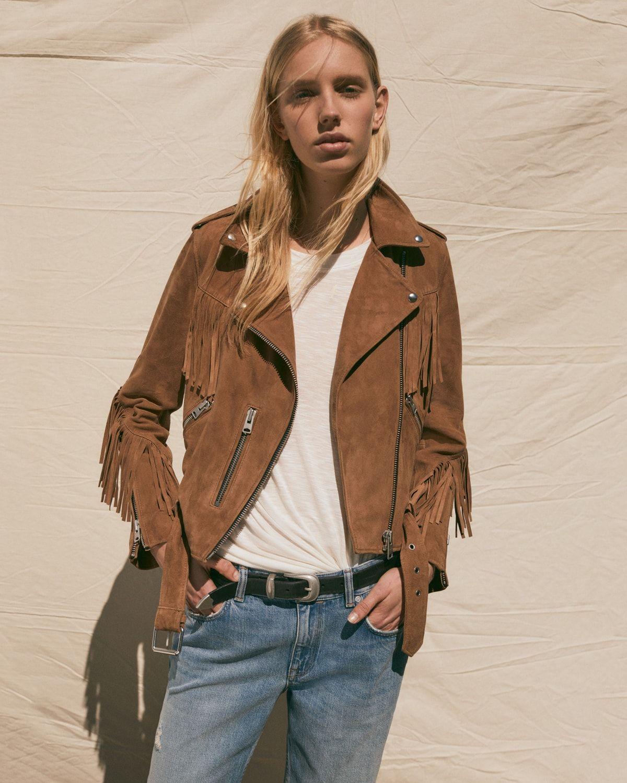 all saints Women lookbook, Jackets, Fringe leather jacket
