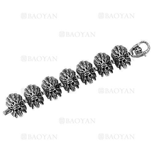 brazalete de craneo moda en acero plateado inoxidable para hombre -SSBTG274273