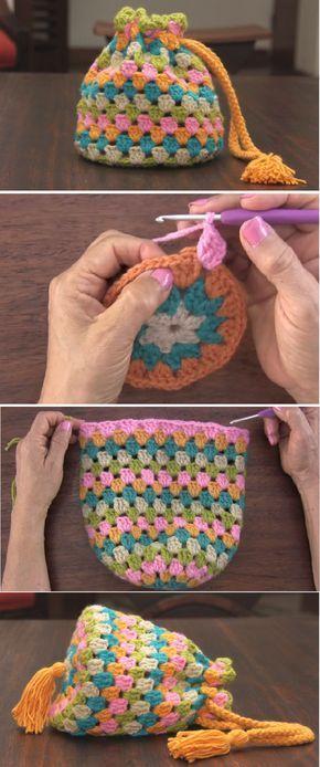 Crochet Round Granny Handbag | Crochet | Pinterest | Tasche häkeln ...